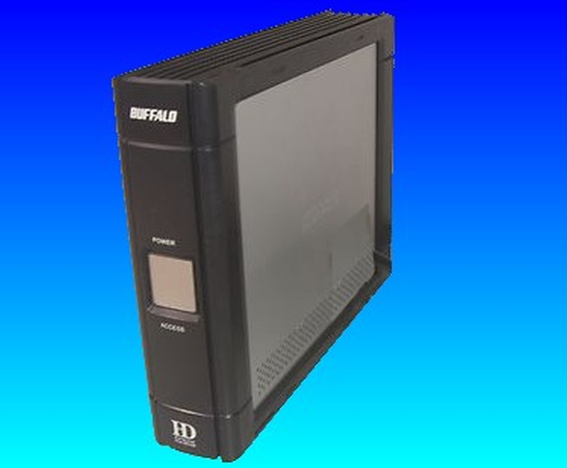 The top part of a Buffalo Drivestation Duo is shown that was sent to us for repair and file recovery after it failed to start up when switched on.