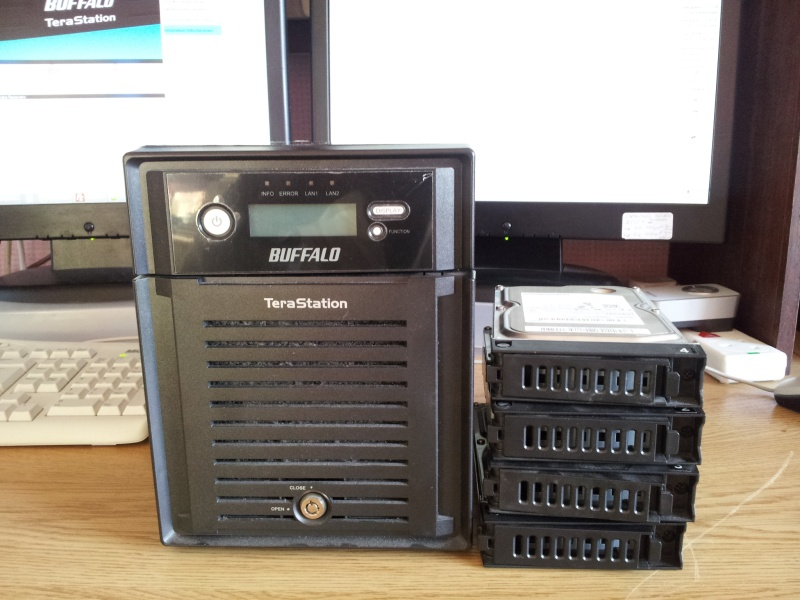 A Terastation Pro that needed repair following E21 error message. This Buffalo Nas unit arrived in our office for data recovery from the hard disks.