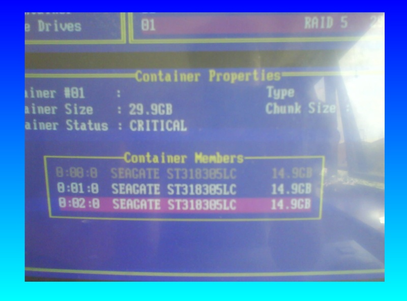 A screenshot from the Dell Perc bios screen showing configuration of the SCSI hard drives. It shows 3 scsi disks members in the raid container, and the container status is critical. It looks as though someone had attempted data recovery before it was sent to us but they did not know how to repair the system to allow it to boot up.