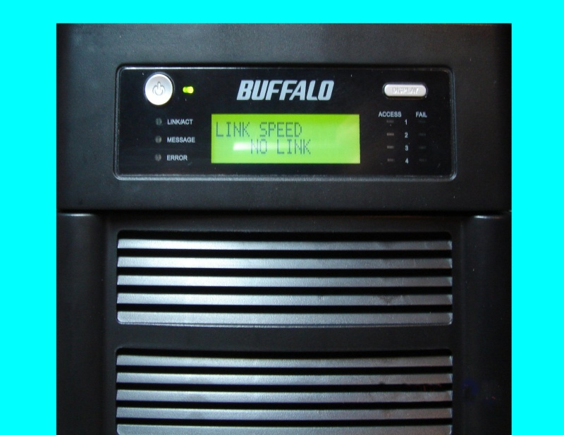 A Bufflo Terastation is shown with it's green led screen display. It shows E21 chip failure so required data recovery of the files.
