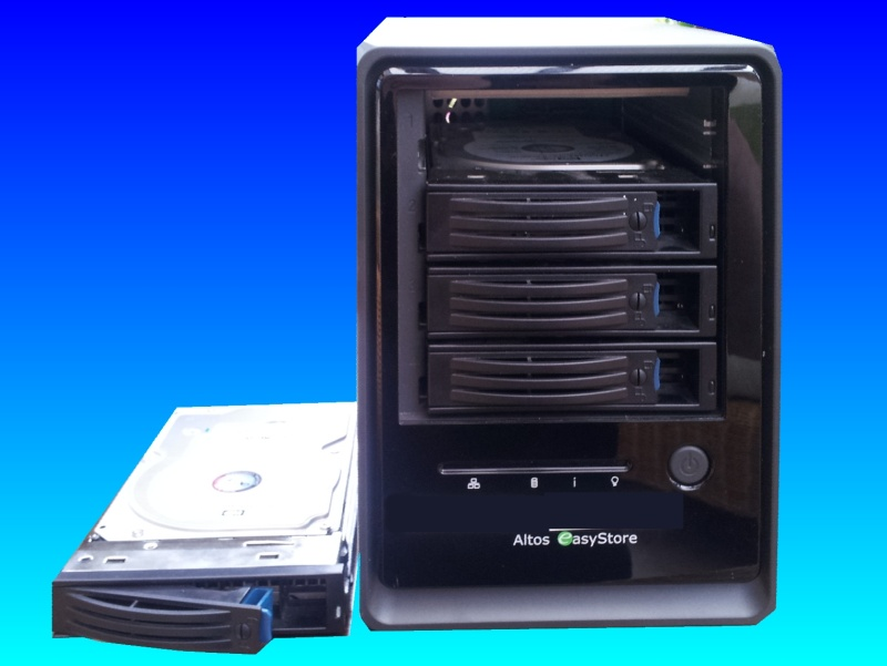 An Easystore nas raid drive that was made by Acer under the Altos brand. Following a power cut this drive lost its shared folders and disappeared off the network so was sent to us for data recovery.