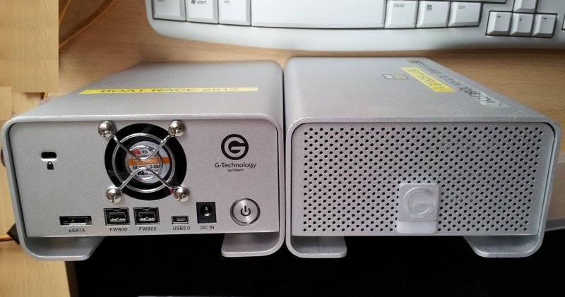 A G-Tech G-Raid drive showing the Firewire and USB connection Ports. Modern versions of this external disk include Thunderbolt ports for Apple Mac computer connections. This drive was awaiting data recovery in our lab.