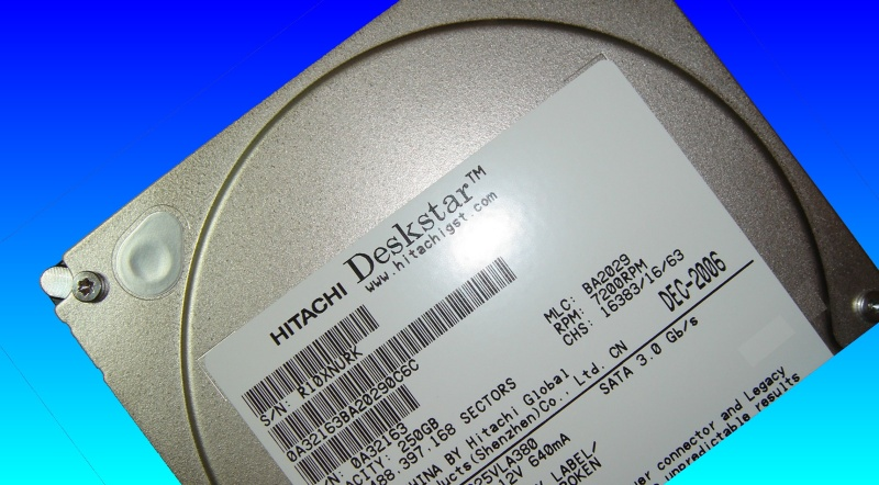 The label area from an Hitachi drive that was sent to us for data recovery after it stopped working suddenly.