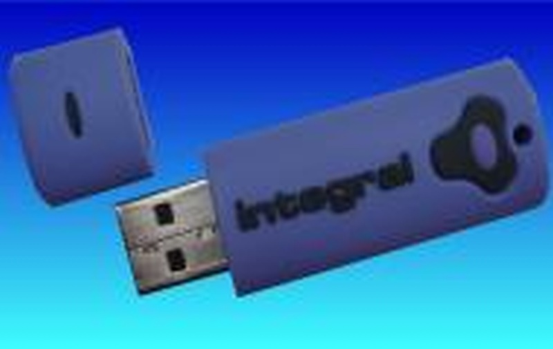 An Integral Splash Pen Drive with snapped silver USB part.