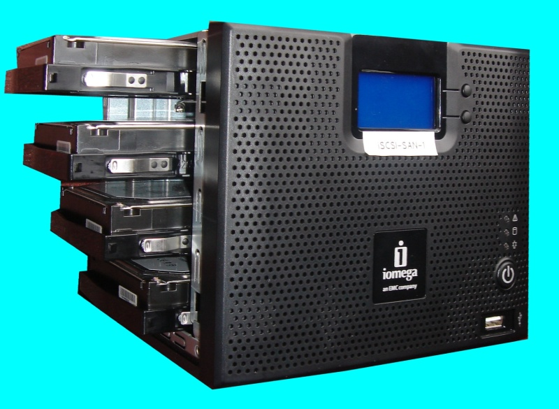 An Iomega IX4-200d drive that was used under iSCSI VMWare as a network raid drive. The system consists of 4 hard disk drives in a raid configuration.