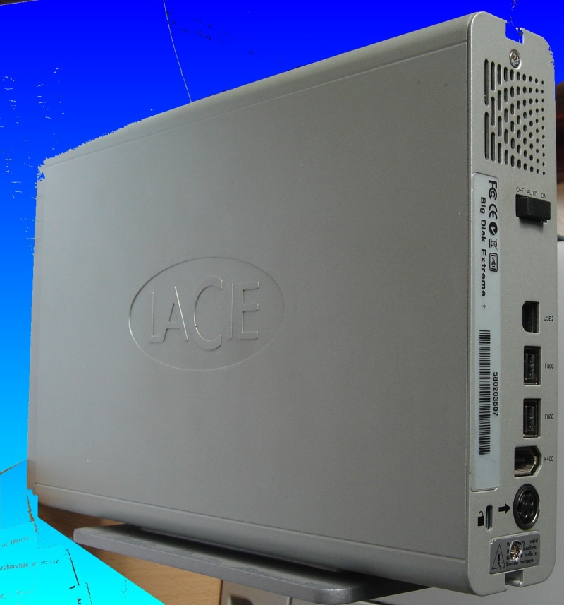 A Lacie external drive awaiting repair after it failed to boot up. This model was a Lacie Big Disk Extreme Dual, and had firewire and usb connectors.
