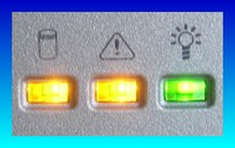 A close up view of the Lacie Ethernet Disk led lights blinking when access failed to the shared folders.