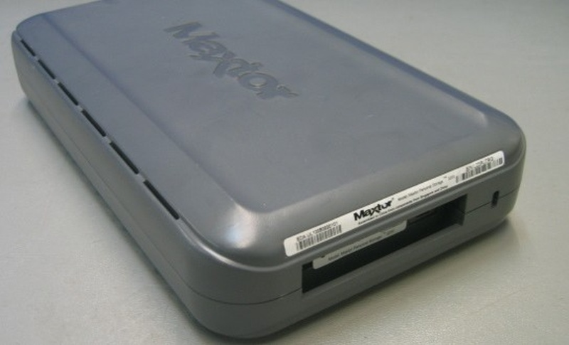 The end of a One-Touch Maxtor HDD sent in for repair. The drive has Firewire and USB connections but was not recognised when plugged in to the computer port so arrived with us for recovery of the files.