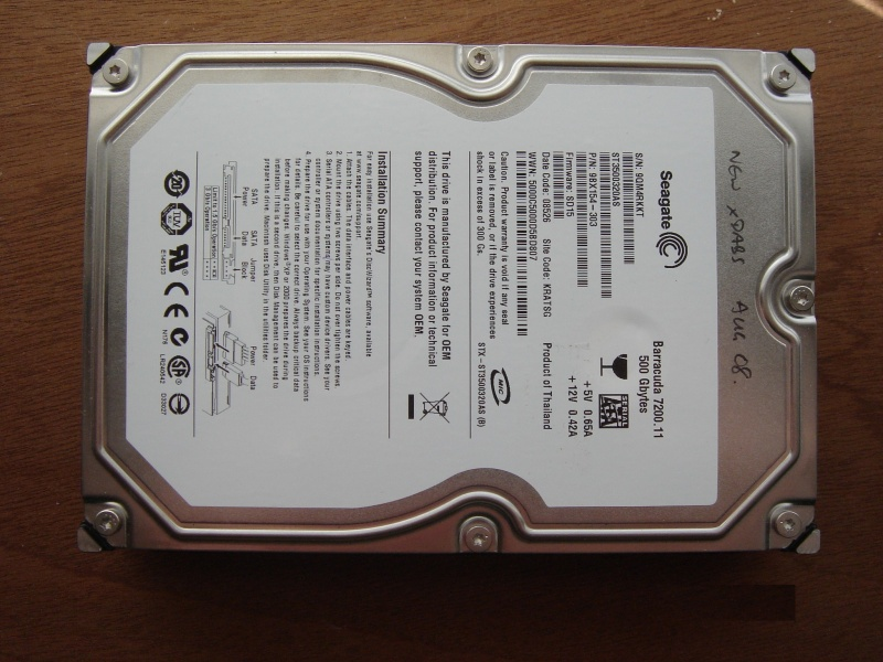 A Seagate Barracuda 7200.11 desktop hard drive that was not spinning up when powered, and awaiting repair and data recovery in our lab. This drive is a 500gb, shown with it's label face up.