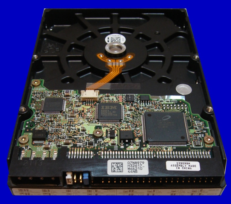 An IBM Disk showing the pcb circuit board. The disk was from an IBM Raid 0 striped array that was sent to us to recover the data. The Hard disk model number is IC35L040AVER07-0.