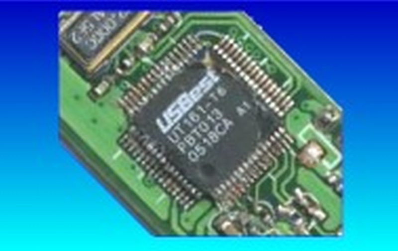 A USBest controller chip mounted on a green pcb that is just showing the USB connector attached. This was from a recent repair we did after the connect was broken. We recover many USBest memory stick.