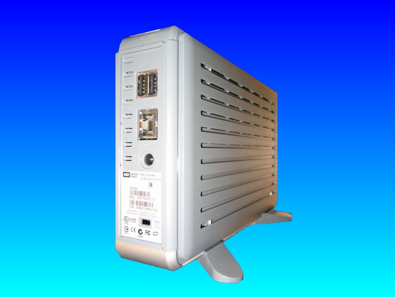 A WD Netcenter NAS device that uses Maxtor hard drives to store data and is connected to the network via Ethernet. They run a proprietary operating system to display the shared files and folders.