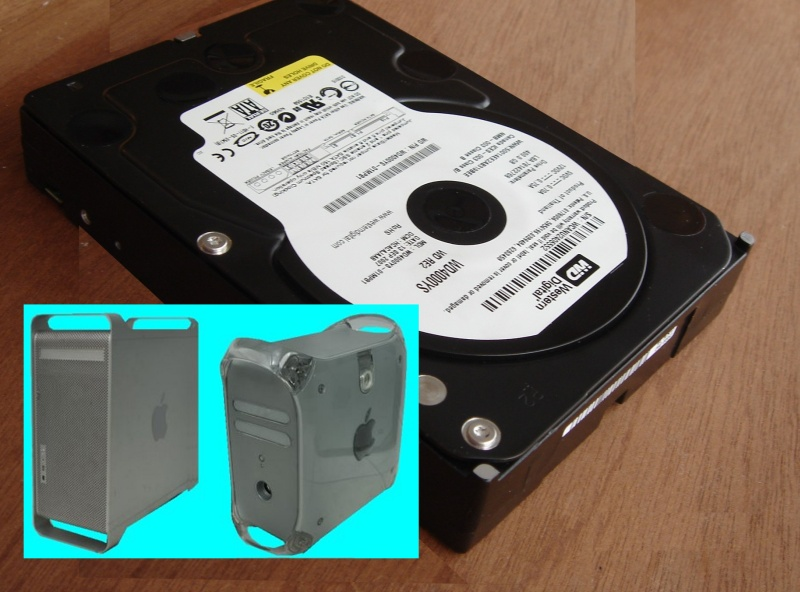 An image of an Apple Hard drive along with a G4 and G5 Mac, we also recover data from disks from Apple G3 computers.