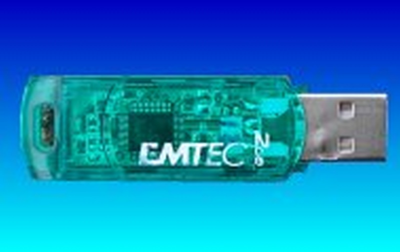 An Emtec flash drive whose USB connector had failed and needed soldering back on to the pcb.