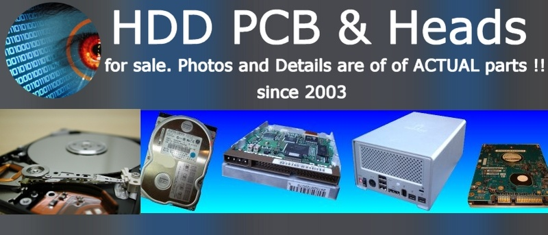 An image of hard disk drive heads, pcb circuit board, and donor hard disk assembly (HDA) and parts for sale.