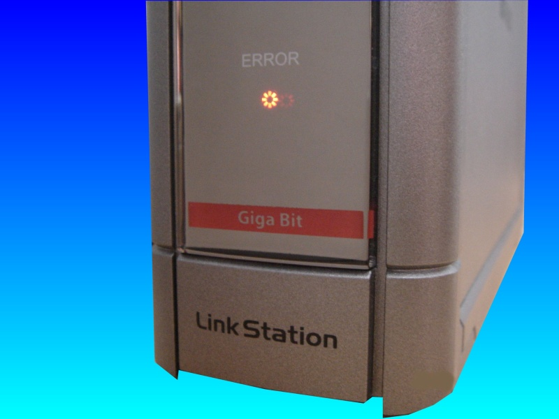 A Buffalo Linkstation showing the red flashing LED light on the front indicating an error. It's model number is HS-DH-GL and was sent to us for data recovery.
