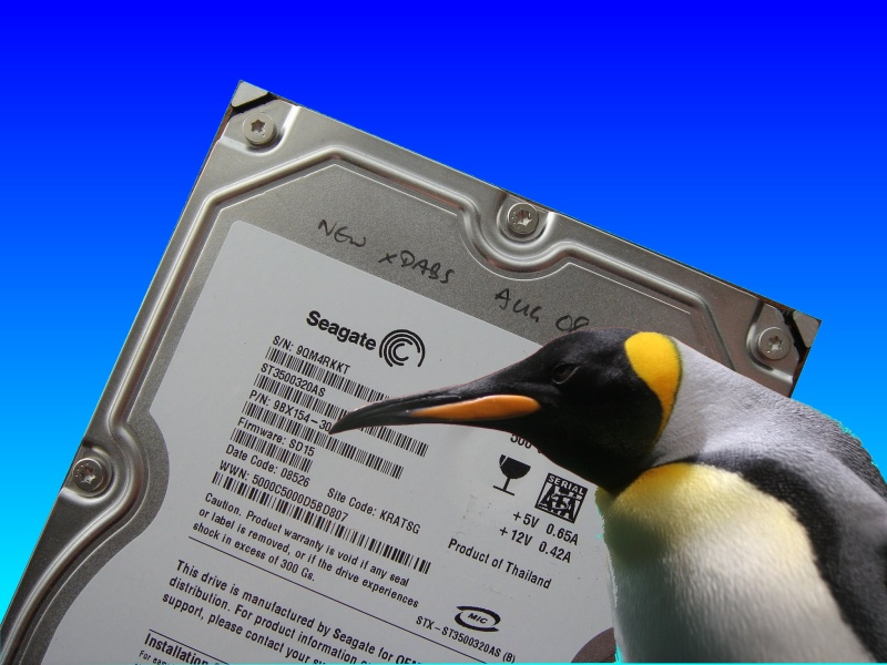 A seagate hard drive pictured with Linux Penguin. There are 7 hard disks in the Linux raid5 array running under Suse 9.3 that were sent for us for data recovery. The Highpoint 1820a raid controller card had failed after a power-cut and needed to be repaired.