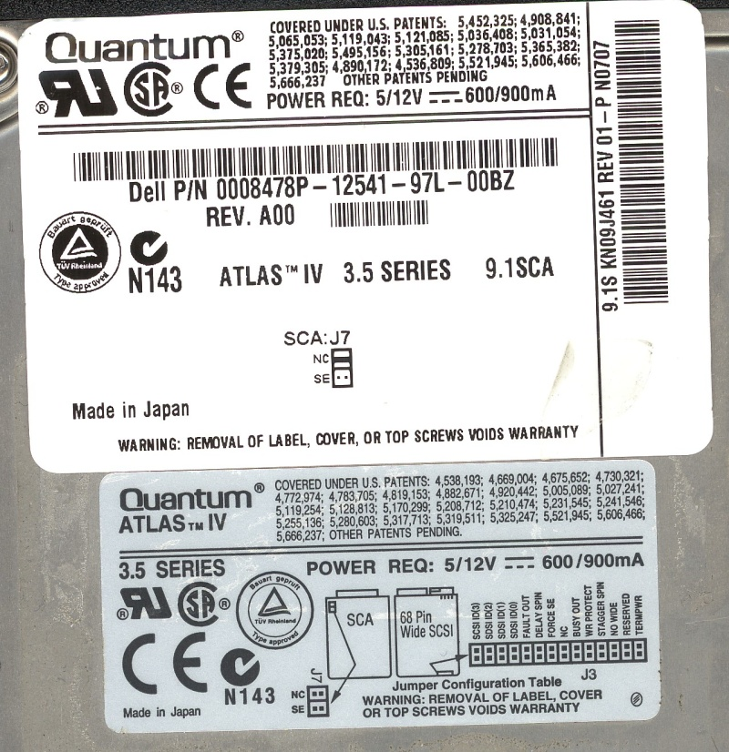 A Quantum SCSI disk label from a drive that had been used in a Dell PERC SCSI raid5 server. The raid had failed so drives were shown offline, there they were sent to us to recover the files.