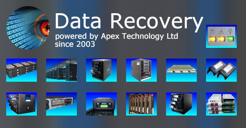 Servers , rack mounted raids, Blade systems, running raid-5 arrays or raid-6. A typical view of the sort of storage devices and NAS we get for data recovery.