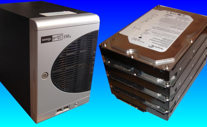 An Iomega Storcenter 150d with it's 4 hard drives removed for data recovery following a power outage. The raid array had become corrupt.