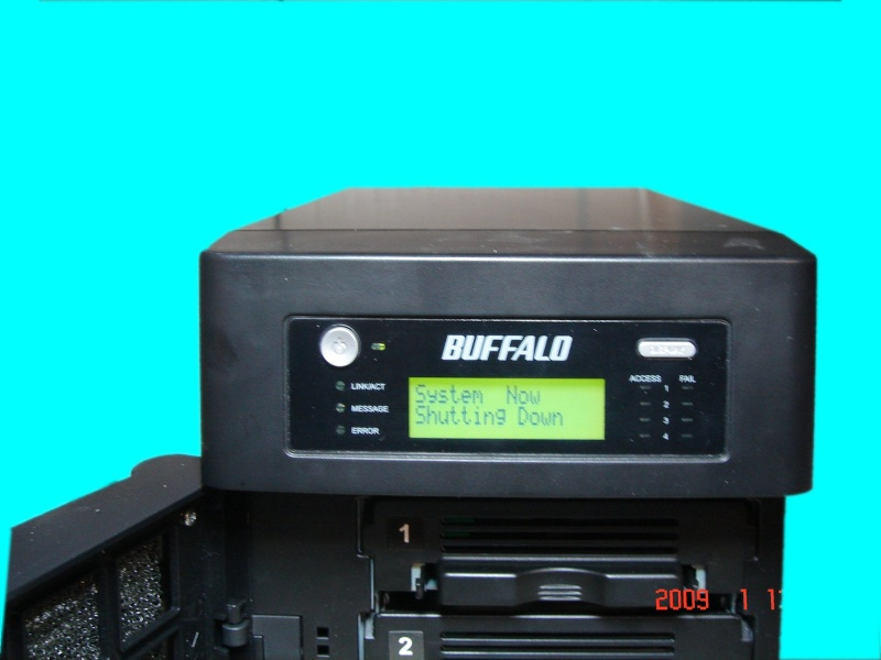 The LCD display of a Buffalo Terastation whose raid had failed. The system was configured for raid5 and disk 2 had gone down.