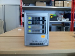 The image shows the Intel SS4000 (Lacie Branded Ethernet Disk) awaiting data recovery in our lab. The drive was reporting Smart error on one HDD. The 4 250GB hard drives are shown inserted in the front of the NAS.