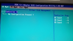 The Dell Perc 5i Raid Bios Configuration Utility screen showing that there was No Configuration Present. There were 4 drives in the Server originally as Raid 10.