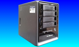An Acer Altos Easystore shown with the drive caddys which hold 4 hard disks in Raid 5. The web interface failed after a power cut when the system just hangs.