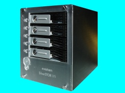 An Evesham Silverstor NAS drive box which incorporates 4 hard disks in Black and Silver. It is connected buy an Ethernet network cable and is basically a Thecus Network attached storage device (also sold under Allnet brand) which often fail to boot up after a power cut.