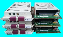 A set of SCSI hrad disks from an HP Compaq server awaiting data recovery after the raid5 array failed.
