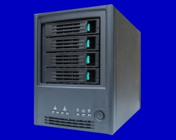 An Intel SS4000-E front view shown with the 4 hdd removable drive trays. The Raid array failed and so the nas but did not boot up, would not show on the network and had flashing led lights on the front. It is awaiting data recovery.