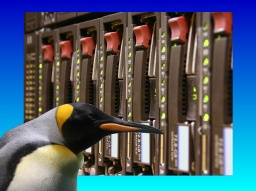 A SCSI rack mounted array is shown with a Linux penguin in front of them. The raid array had failed to rebuild correctly with 3 disks going offline before it was sent to us for recovery.