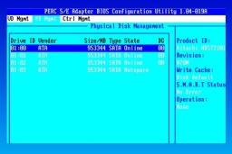 A Netware server screen shot showing the 3x 73gb scsi disks in raid 5. However 2 of the 3 drives had failed on the Dell Poweredge 1750 raid 5 array so we recovered the data.