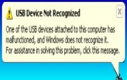 A screenshot when Windows displays the error abut a USB not recognized when the device malfunctioned.