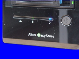 An Altos Easystore showing it's indicator LED lights blinking and name badge. The unit no longer allowed access to the disk so was sent to us for file recovery.